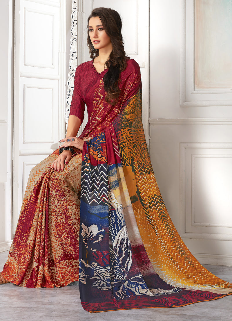 Multi Color Crepe  Digital Print Kitty Party Sarees NYF-8101