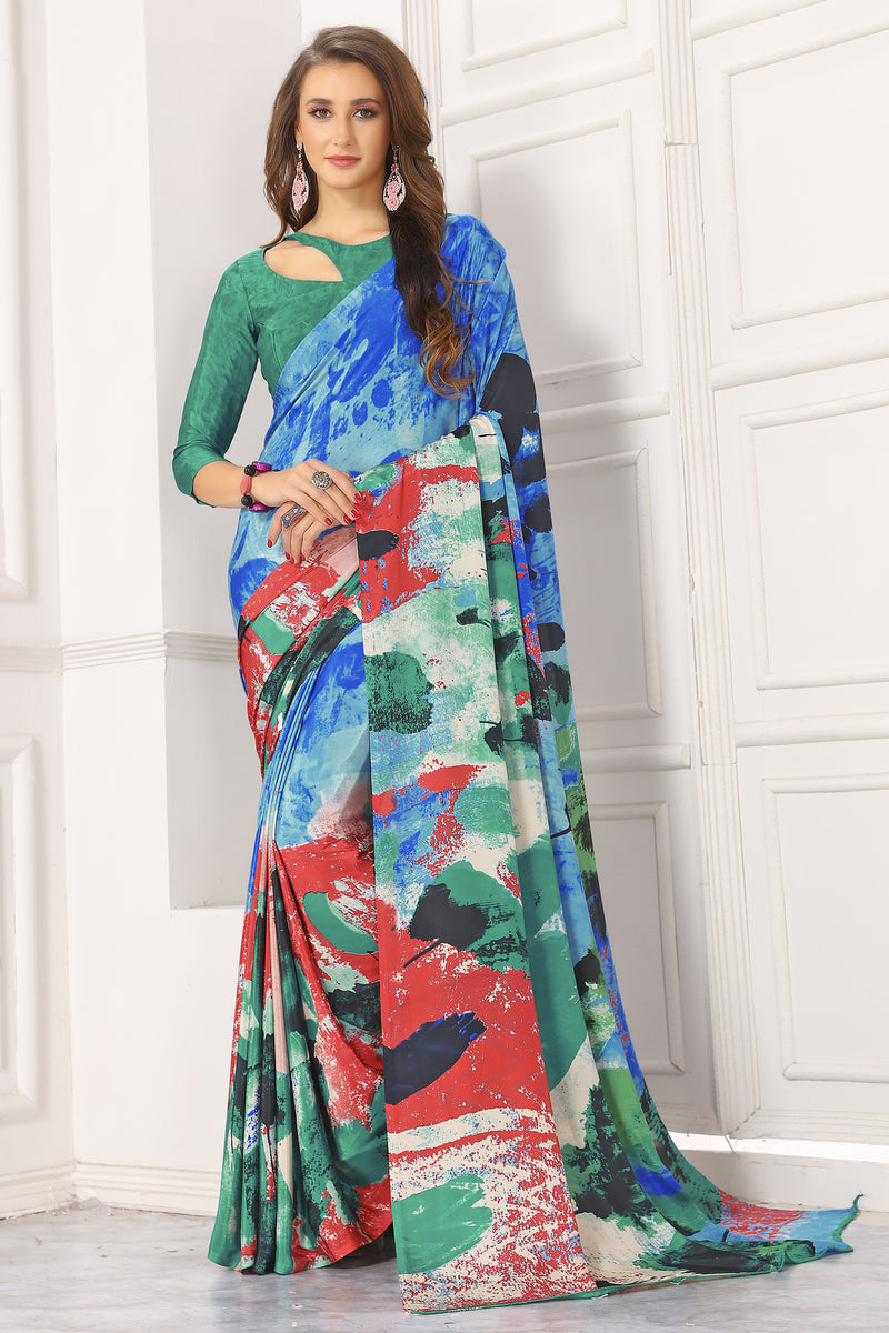 Multi Color Crepe  Digital Print Kitty Party Sarees NYF-8102