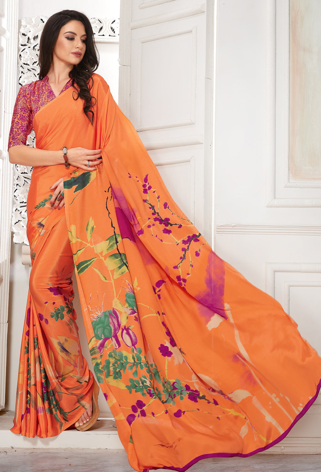 Orange Color Crepe  Digital Print Kitty Party Sarees NYF-8105