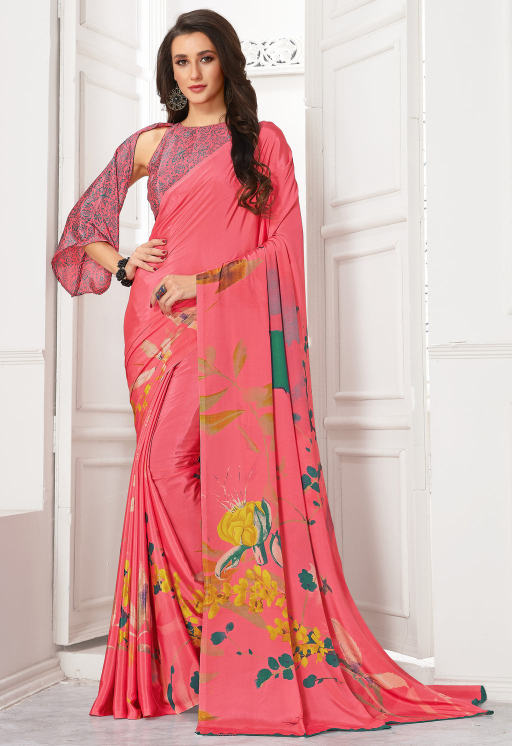 Pink Color Crepe  Digital Print Kitty Party Sarees NYF-8106