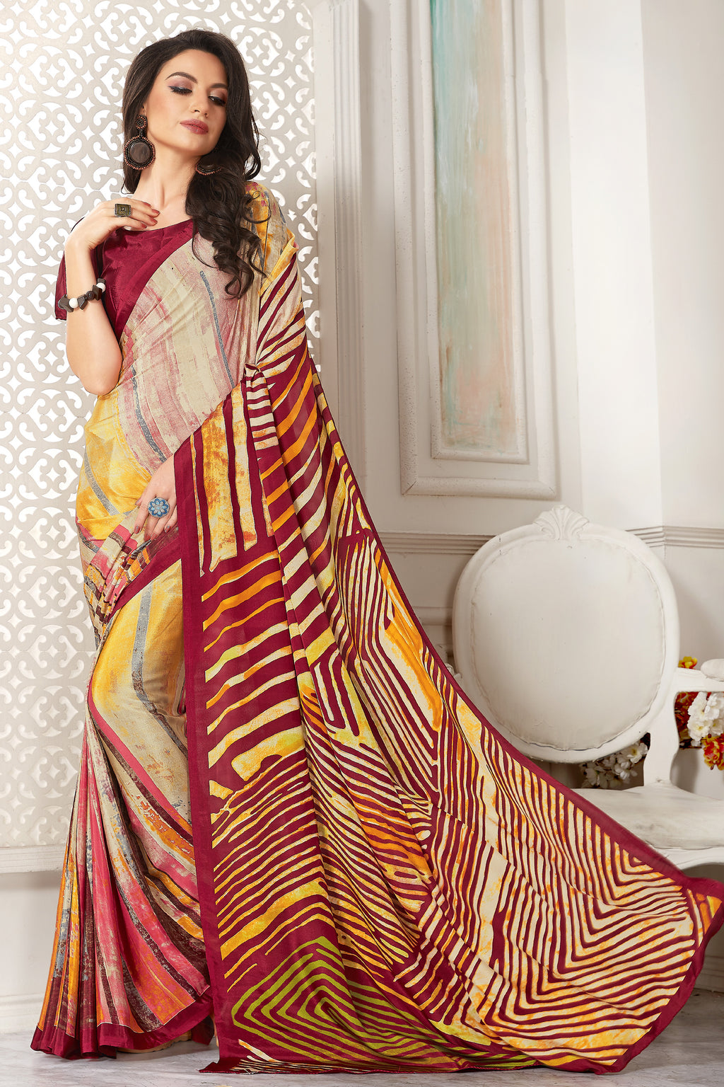 Multi Color Crepe  Digital Print Kitty Party Sarees NYF-8110