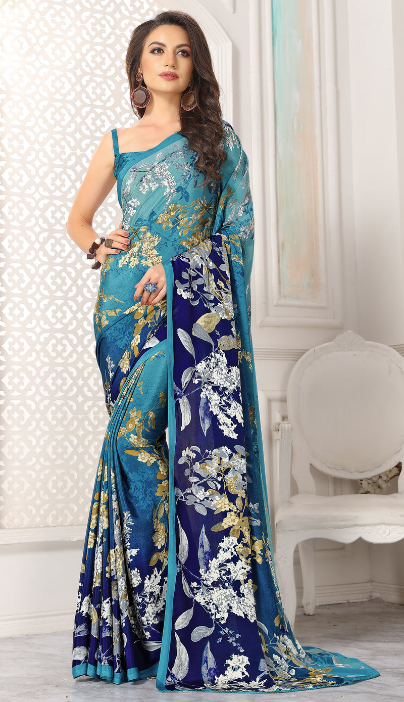 Blue  Color Crepe  Digital Print Kitty Party Sarees NYF-8111