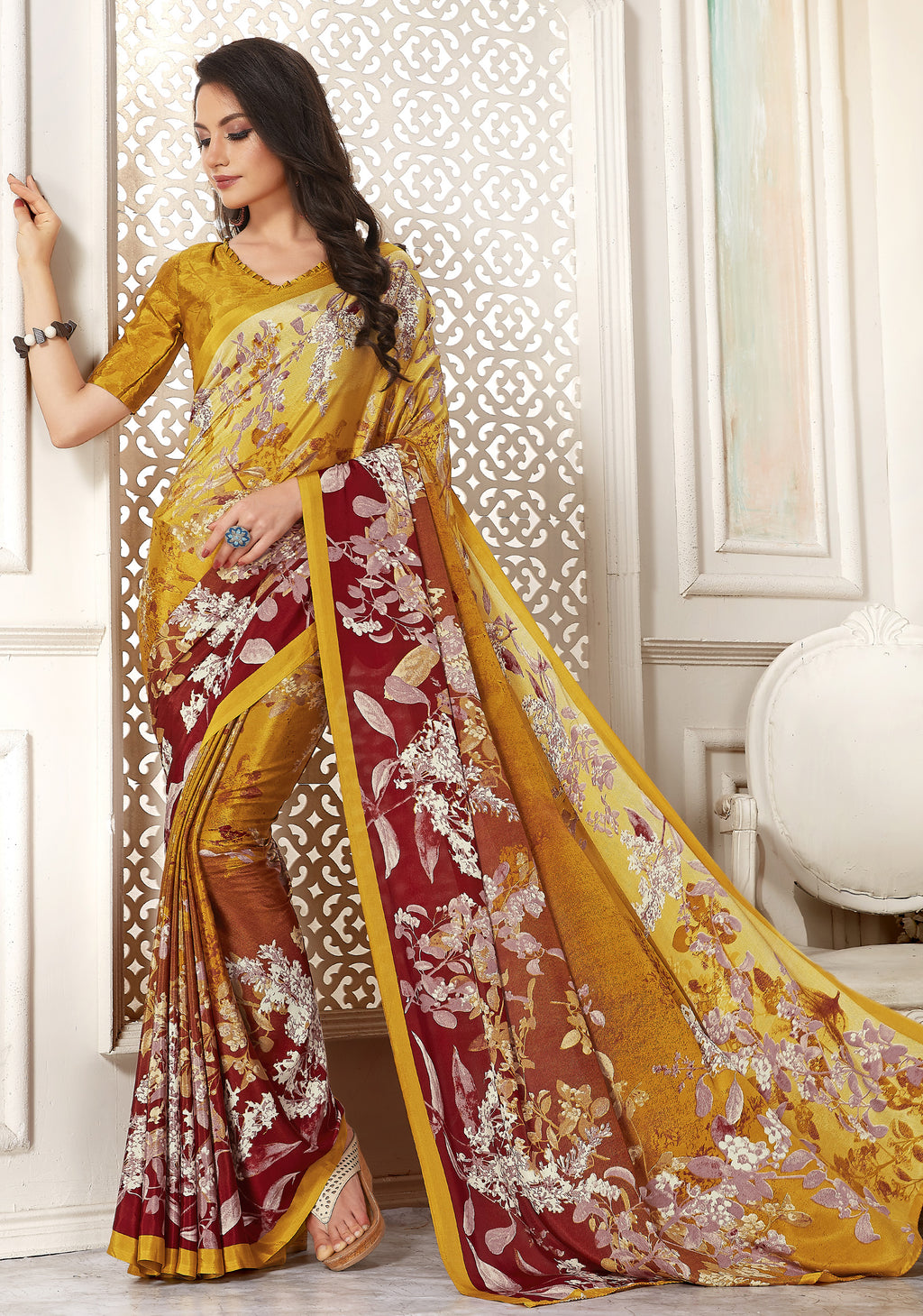Yellow & Red Color Crepe  Digital Print Kitty Party Sarees NYF-8113