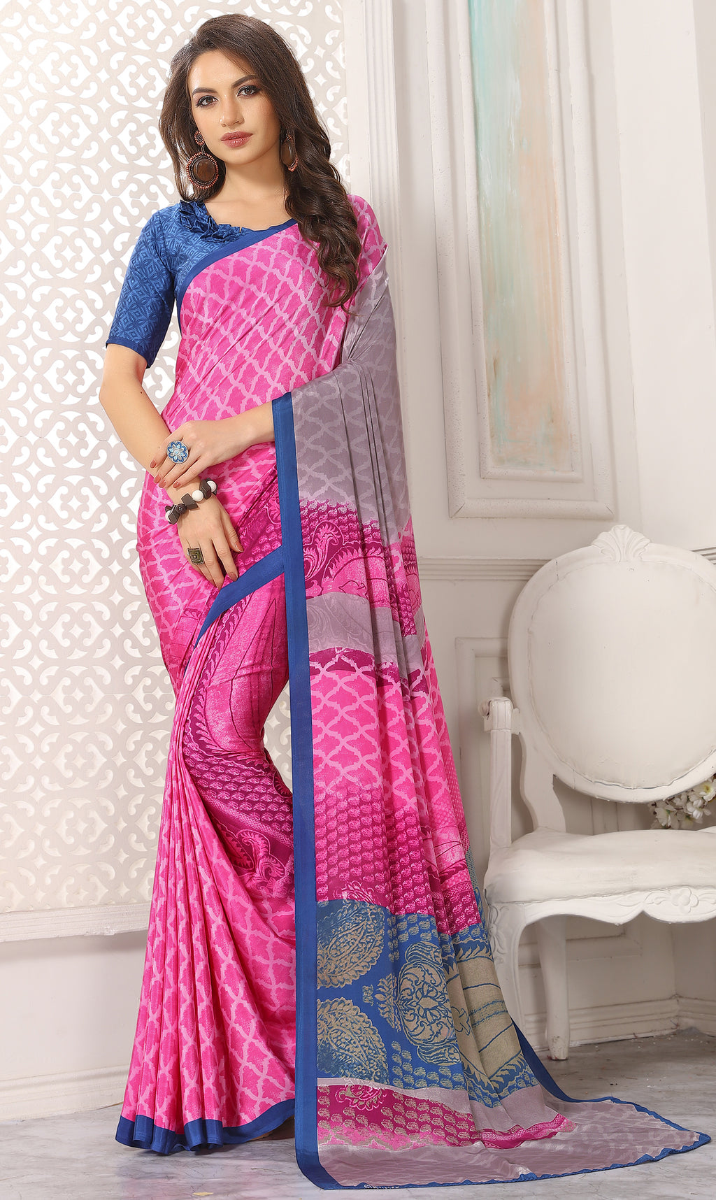 Pink Color Crepe  Digital Print Kitty Party Sarees NYF-8114