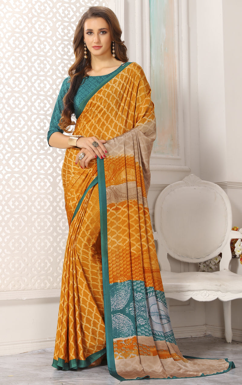 Yellow Color Crepe  Digital Print Kitty Party Sarees NYF-8115