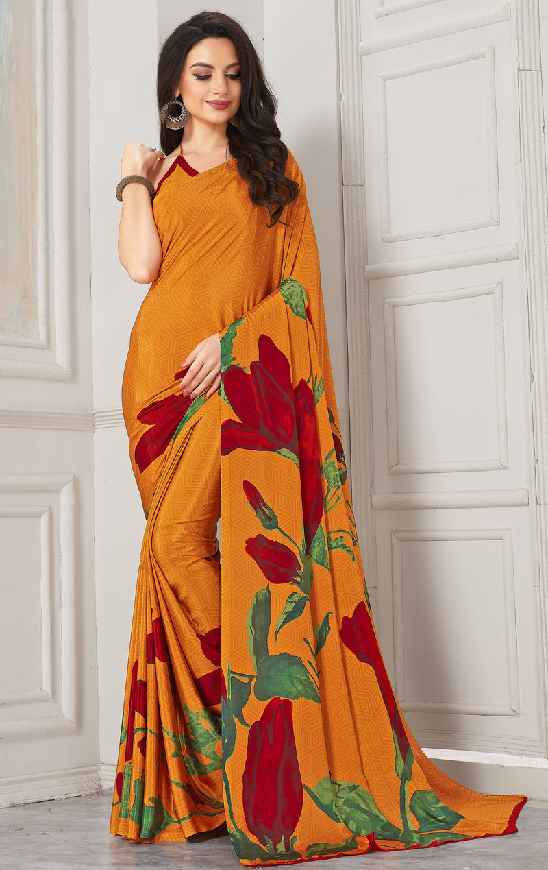 Mustard Yellow Color Crepe  Digital Print Kitty Party Sarees NYF-8117