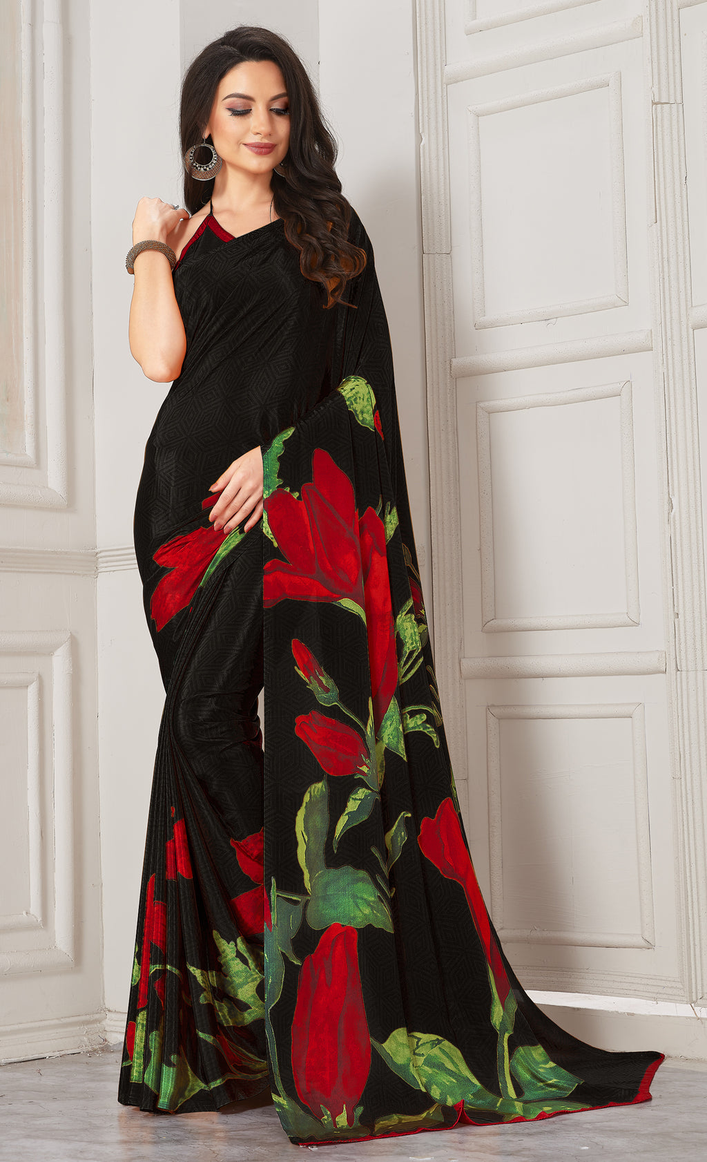 Black Color Crepe  Digital Print Kitty Party Sarees NYF-8118