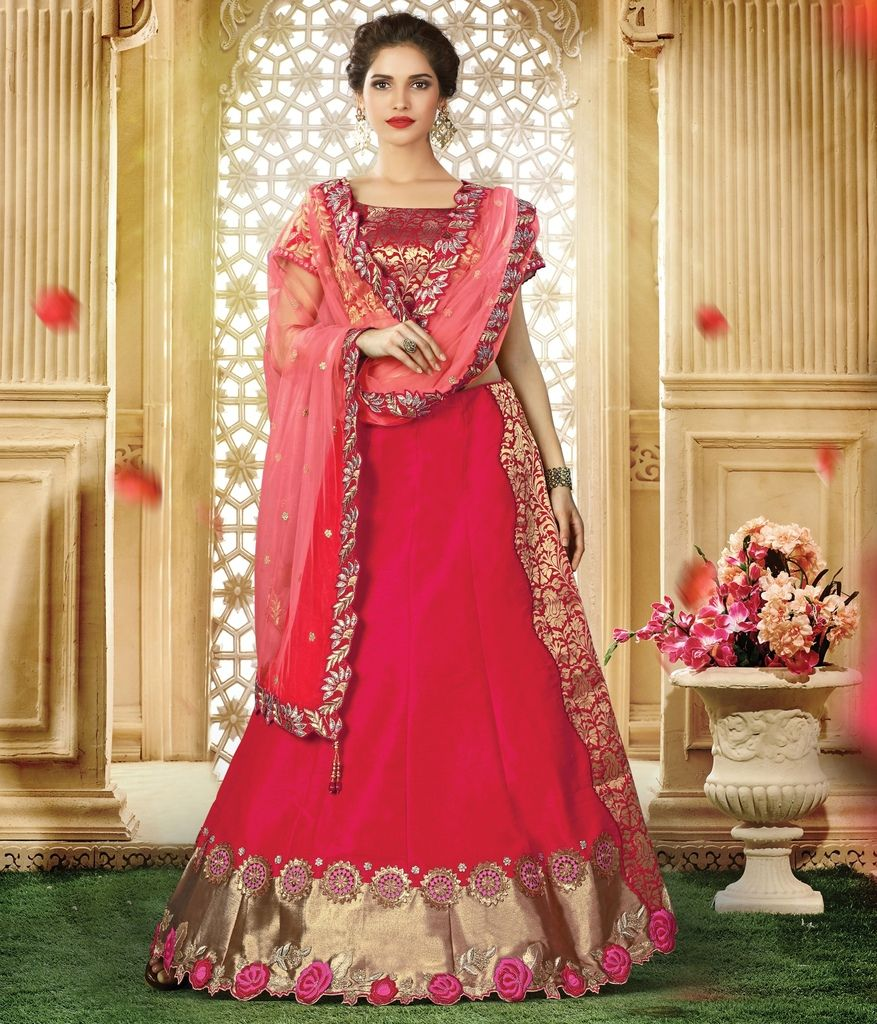 Pink Color Raw Silk Lehenga For Wedding Functions : Nasima Collection  NYF-1808 - YellowFashion.in