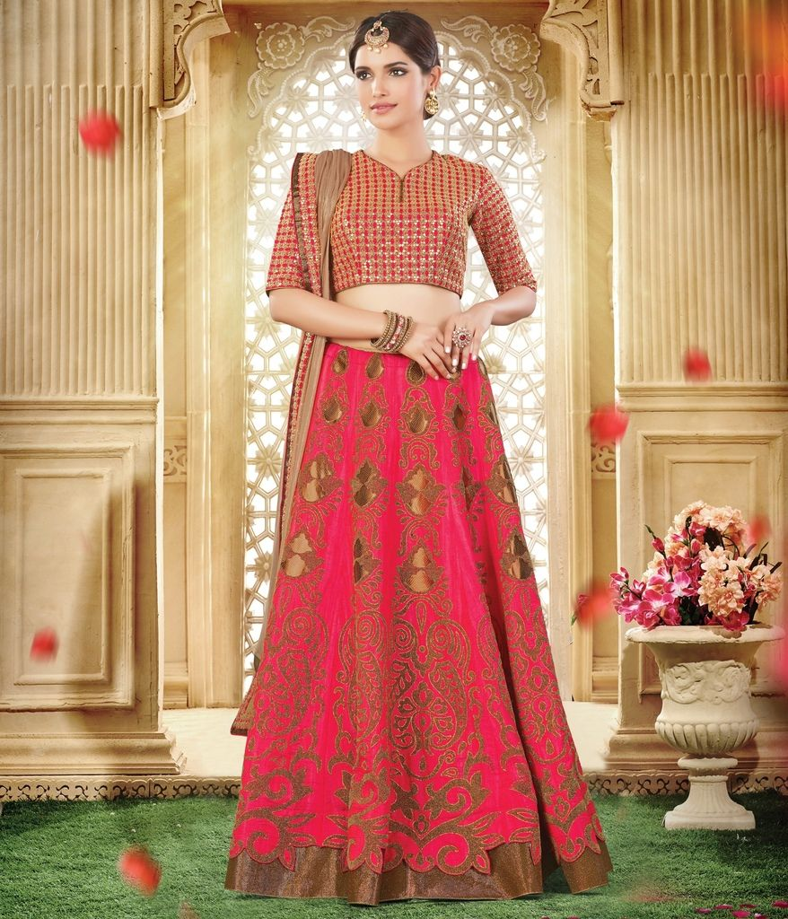 Pink Color Raw Silk Lehenga For Wedding Functions : Nasima Collection  NYF-1809 - YellowFashion.in