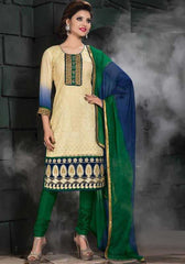 Cream and Green Color Jute Readymade Salwar Suits ( Sizes - 38) : Solitaire Collection  YF-23399