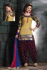 Beige and Pink Color Chanderi Readymade Salwar Suits ( Sizes - 38, 42, 44 ) : Solitaire Collection  YF-23405