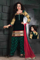 Black and Green Color Chanderi Readymade Salwar Suits ( Sizes - 38, 42, 44 ) : Solitaire Collection  YF-23408