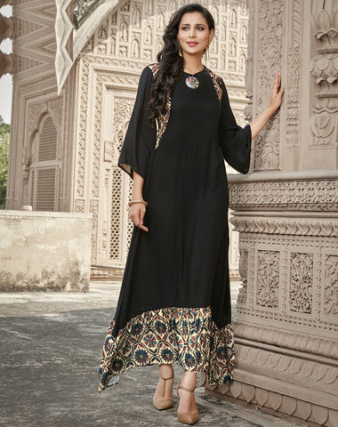Black Color Rayon Readymade Designer Kurtis ( Sizes-38,40,42):  Ruhanita Collection YF-61249