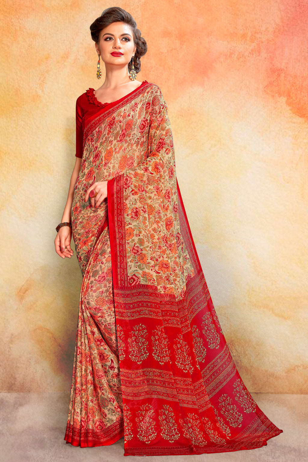 Red Color Chiffon Daily Wear Sarees NYF-8082