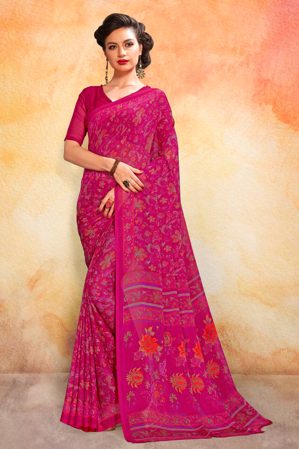 Rani Pink Color Chiffon Daily Wear Sarees NYF-8083