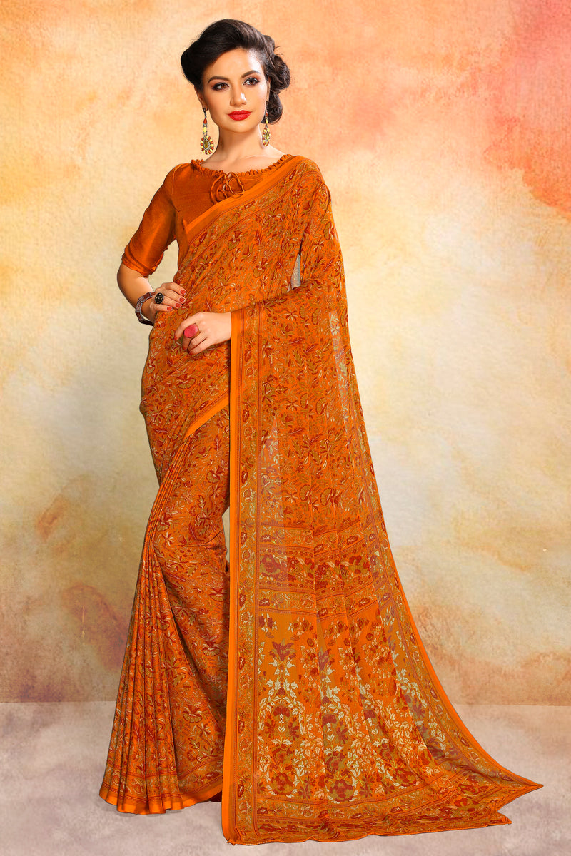Orange Color Chiffon Daily Wear Sarees NYF-8085