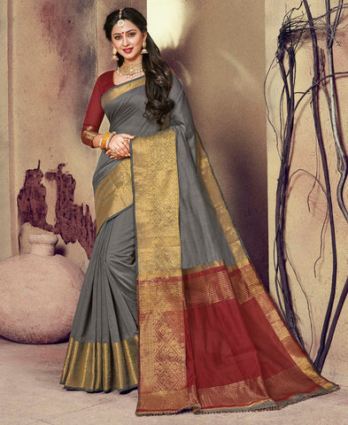 Grey Color Blended Cotton Festival & Function Wear Sarees : Ratnik Collection YF-67671