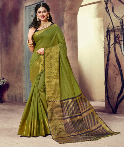 Green Color Blended Cotton Festival & Function Wear Sarees : Ratnik Collection YF-67672