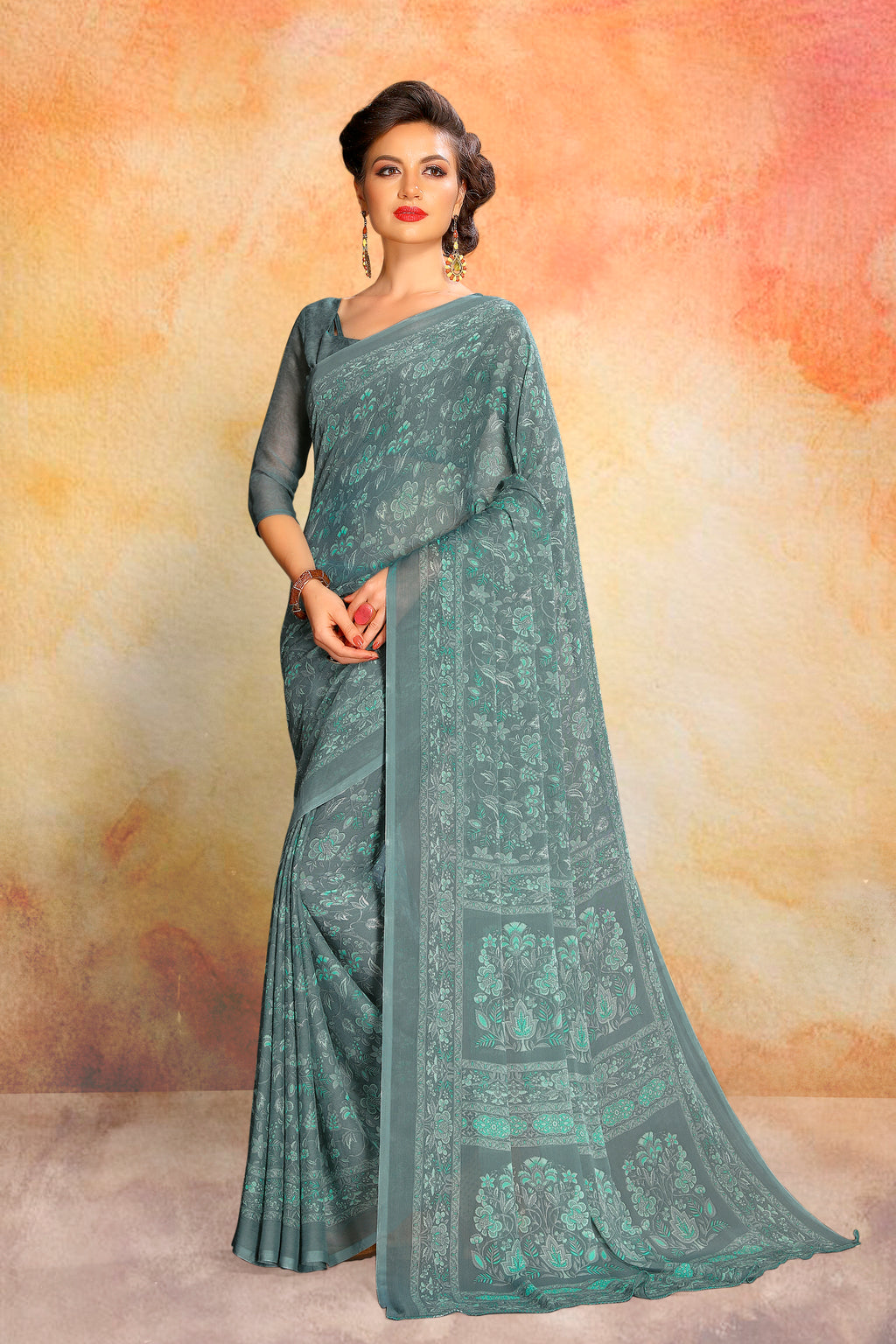 Grey Color Chiffon Daily Wear Sarees NYF-8095