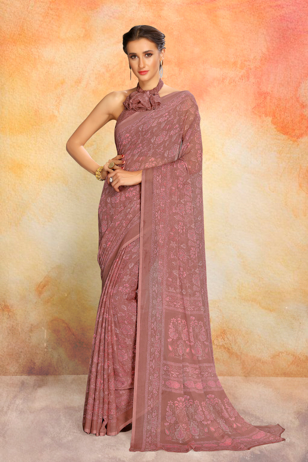 Dusty Pink Color Chiffon Daily Wear Sarees NYF-8096