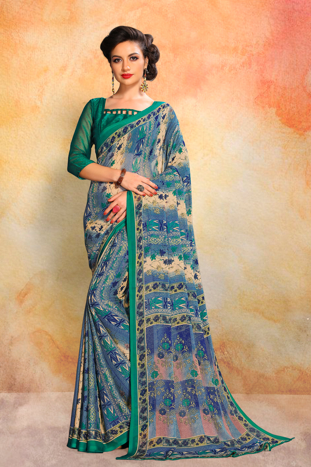 Multi Color Chiffon Daily Wear Sarees NYF-8097