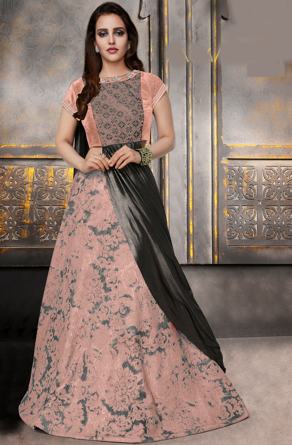 Peach Color Silk Trendy Indo Western Lehengas NYF-5534
