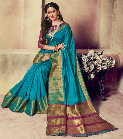 Firozi Color Blended Cotton Festival & Function Wear Sarees : Ratnik Collection YF-67675