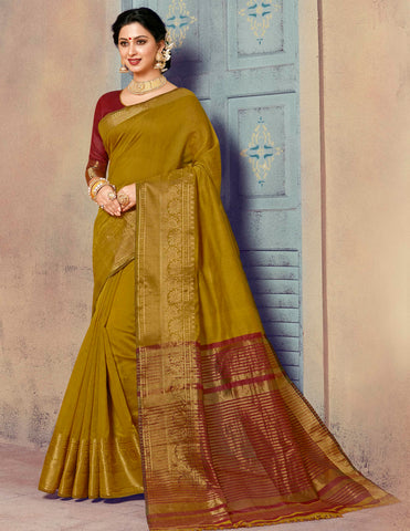 Mehendi Green Color Blended Cotton Festival & Function Wear Sarees : Ratnik Collection YF-67676