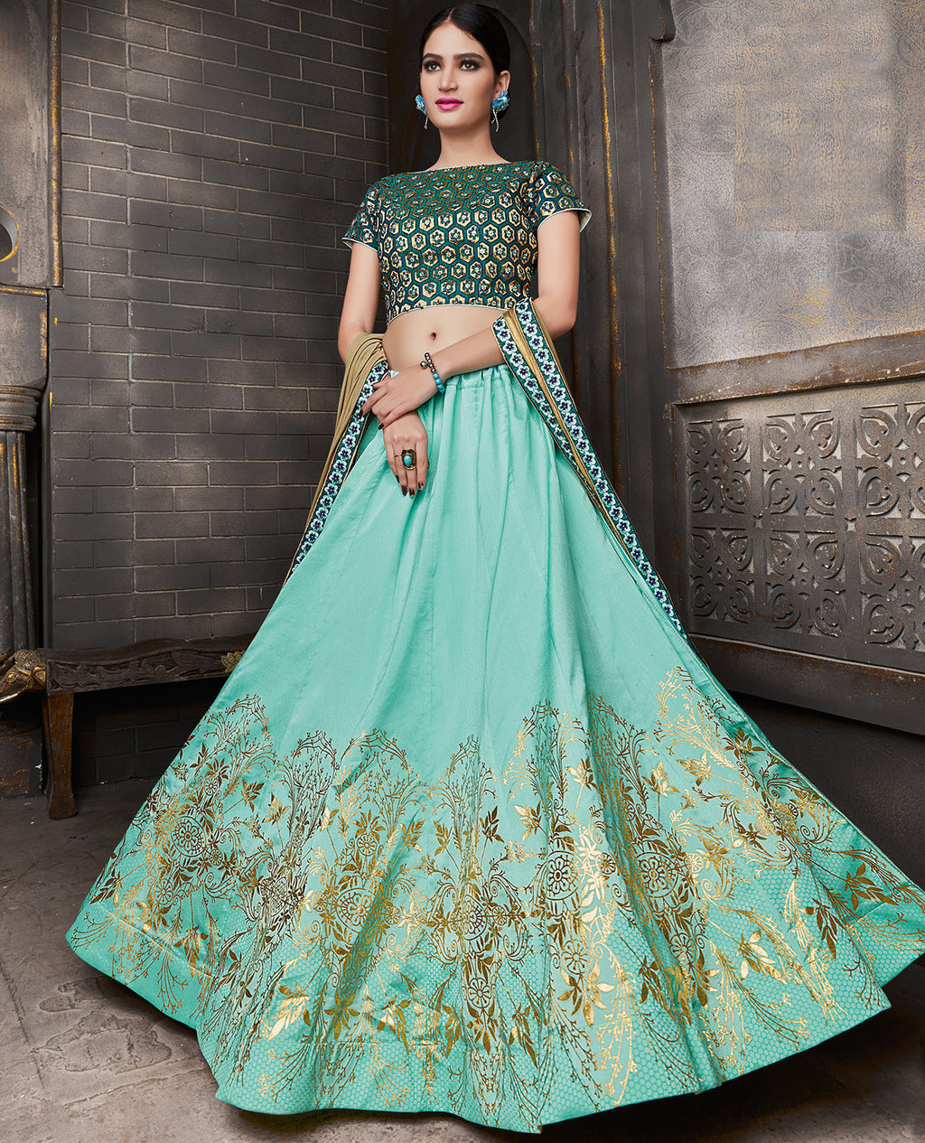 Aqua Blue Color Silk Trendy Indo Western Lehengas NYF-5536