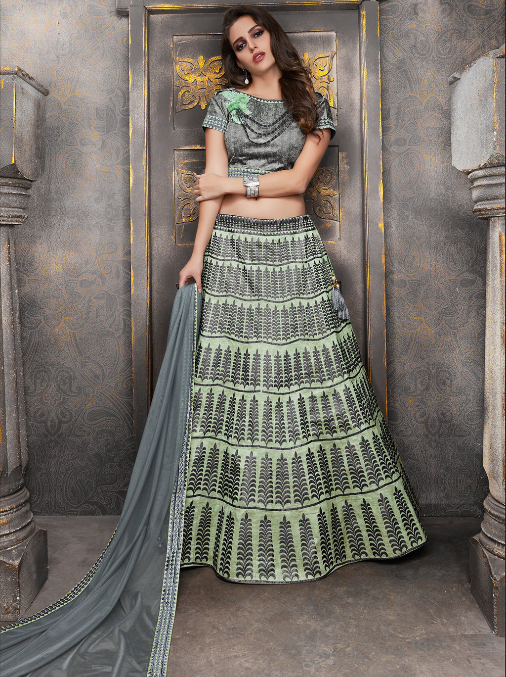 Grey & Pastel Green Color Raw Silk Trendy Indo Western Lehengas NYF-5537