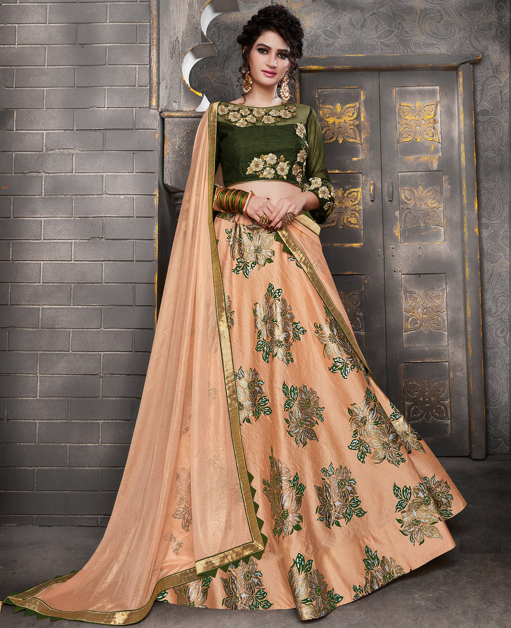 Peach Color Silk Trendy Indo Western Lehengas NYF-5538