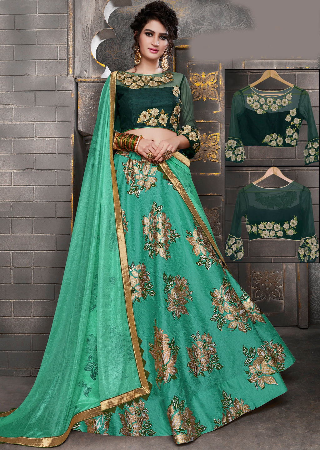 Rama Green Color Silk Trendy Indo Western Lehengas NYF-5539