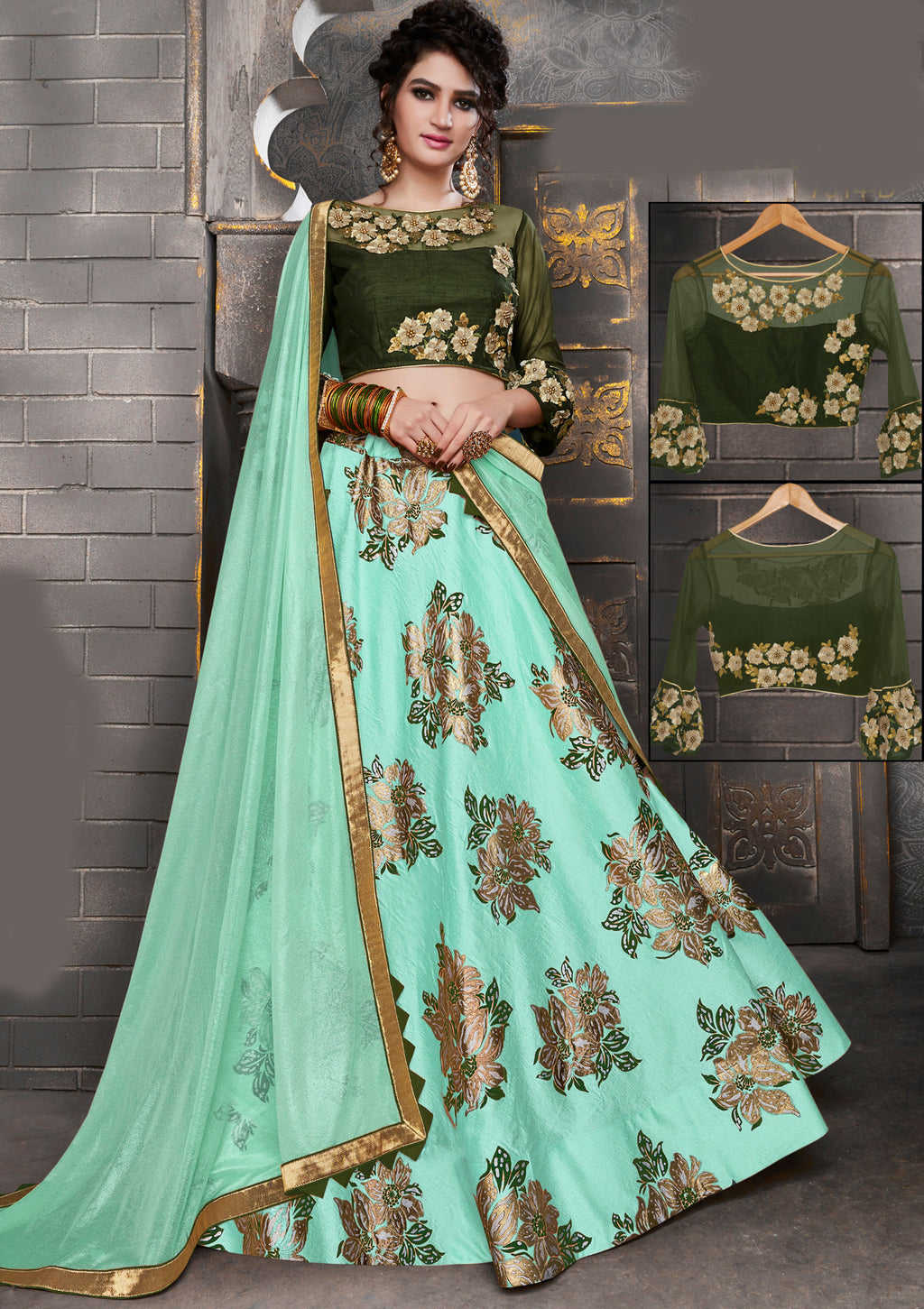 Aqua Blue Color Silk Trendy Indo Western Lehengas NYF-5540