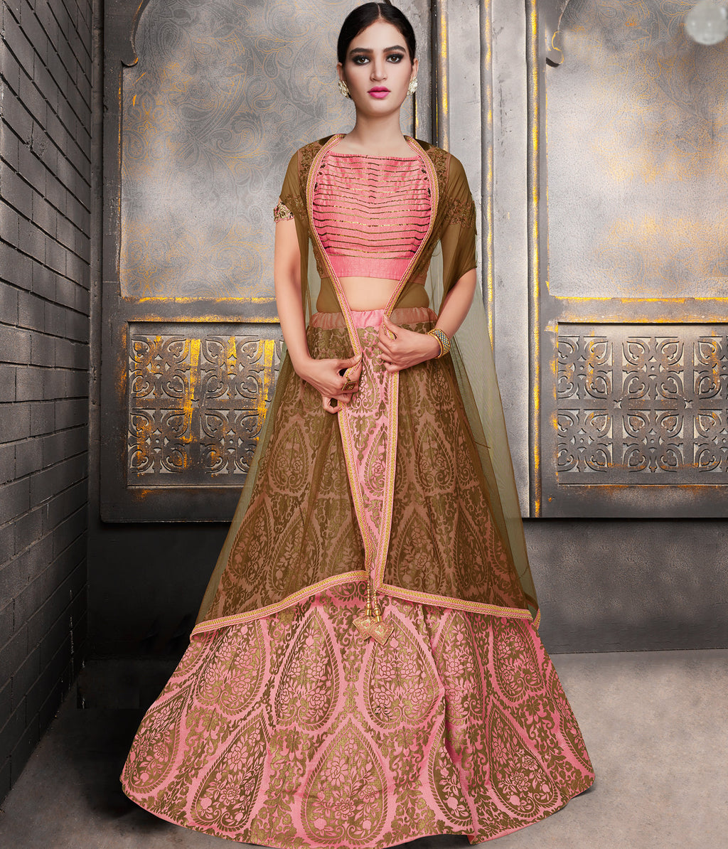 Pink Color Raw Silk Trendy Indo Western Lehengas NYF-5542