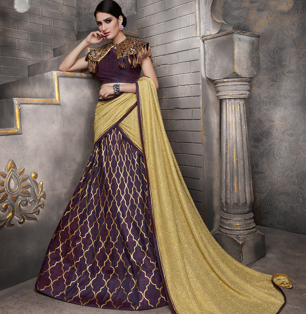 Purple Color Tusser Silk Trendy Indo Western Lehengas NYF-5543