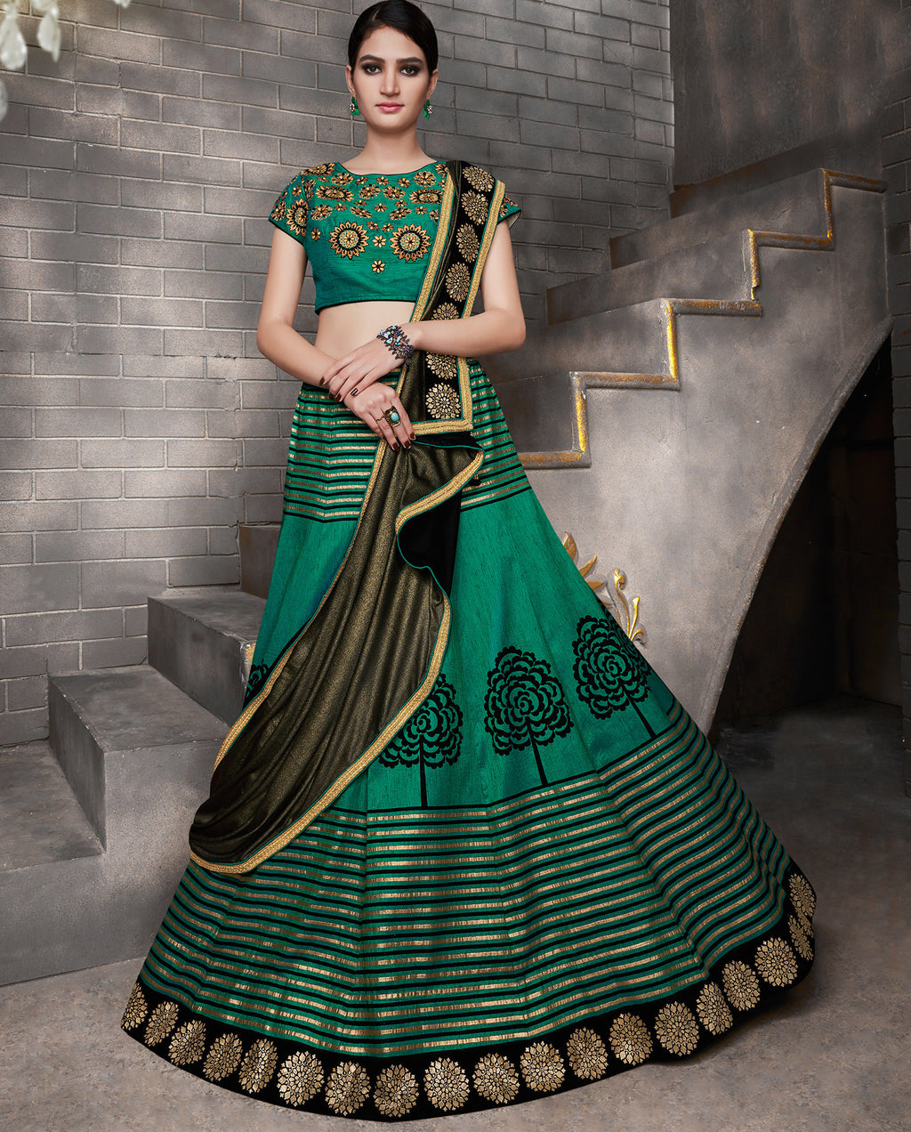 Green Color Tusser Silk Trendy Indo Western Lehengas NYF-5544