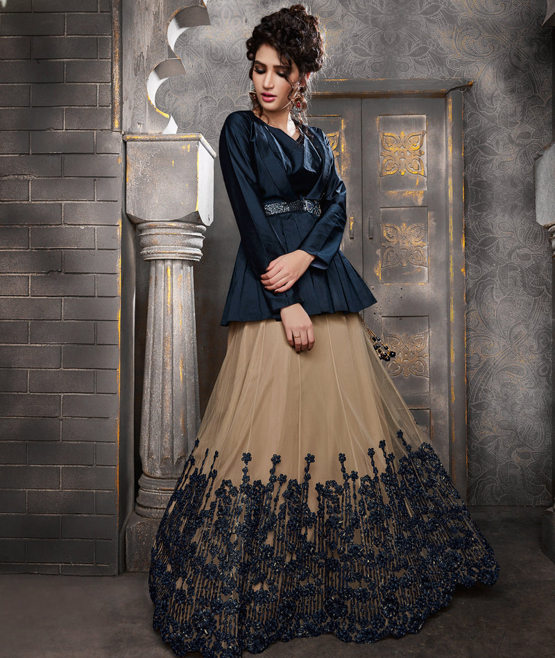 Cream & Blue Color Net Trendy Indo Western Lehengas NYF-5545