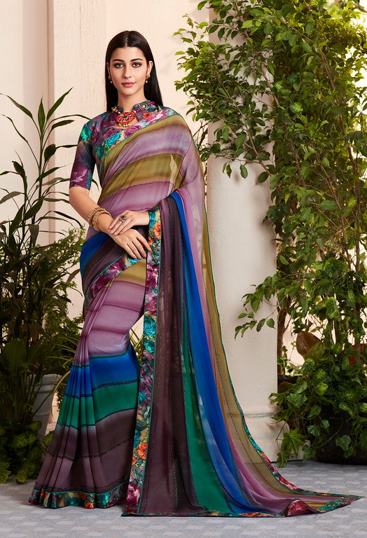 MultiColor Georgette Kitty Party Saree- Saya Collection YF#10341