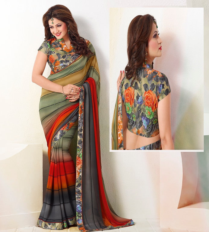 MultiColor Georgette Kitty Party Saree- Saya Collection YF#10340