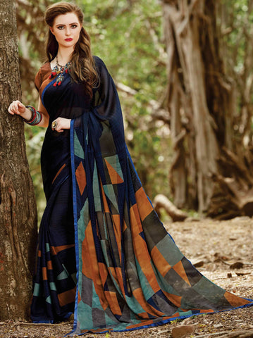Blue Color Crepe Georgette Party Wear Sarees : Ishikani Collection YF-68771