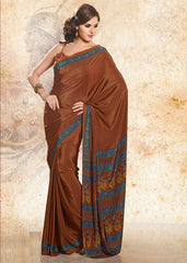 Brown Color Crepe Uniform Sarees : Varnika Collection  YF-50480