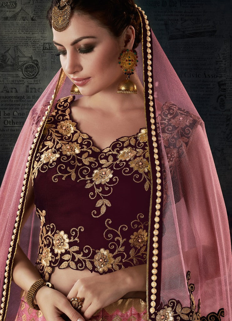 Pink Color Weaving Silk Lehenga For Wedding Functions : Nasima Collection  NYF-1824 - YellowFashion.in