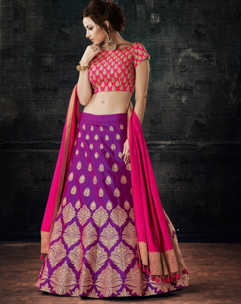 Purple Color Two Tone Weaving Silk Lehenga For Wedding Functions : Nasima Collection  NYF-1826 - YellowFashion.in