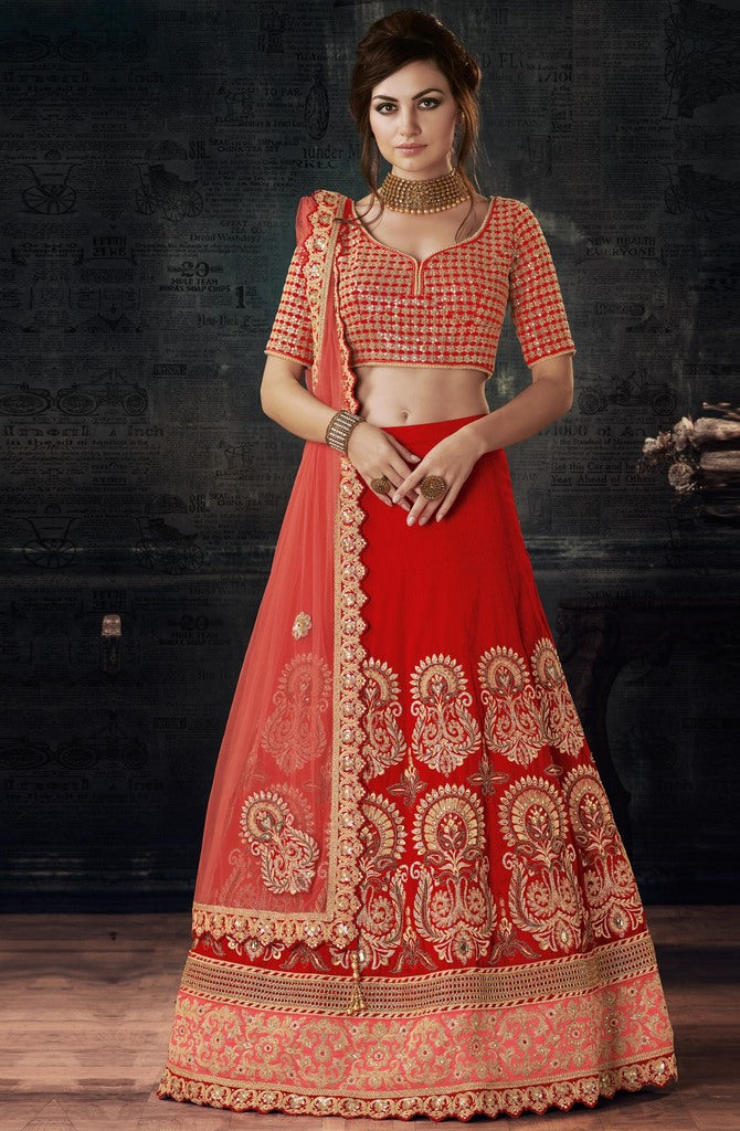 Red Color Raw Silk Lehenga For Wedding Functions : Nasima Collection  NYF-1832 - YellowFashion.in