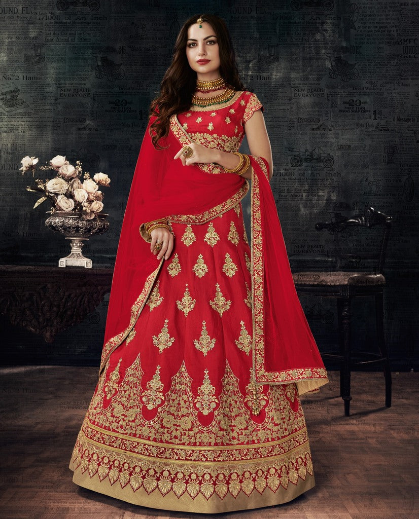 Red Color Raw Silk Lehenga For Wedding Functions : Nasima Collection  NYF-1834 - YellowFashion.in