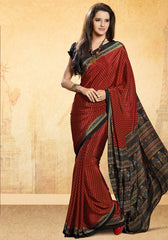 Maroon Color Crepe Uniform Sarees : Varnika Collection  YF-50488