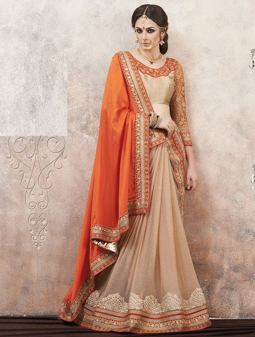 Orange & Cream Color Satin Silk Party Wear Sarees : Pinati Collection  NYF-3350 - YellowFashion.in