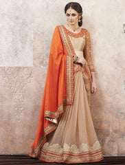 Orange & Cream Color Satin Silk Party Wear Sarees : Pinati Collection  NYF-3350