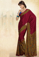 Maroon Color Crepe Uniform Sarees : Varnika Collection  YF-50492