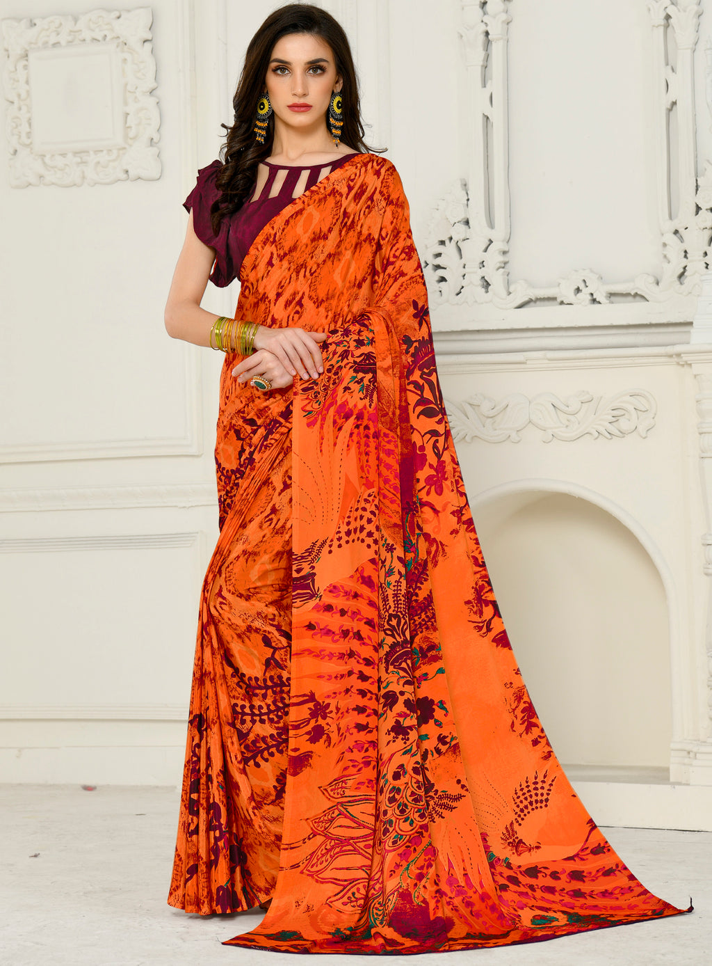 Orange Color Crepe Home Wear Sarees NYF-8741